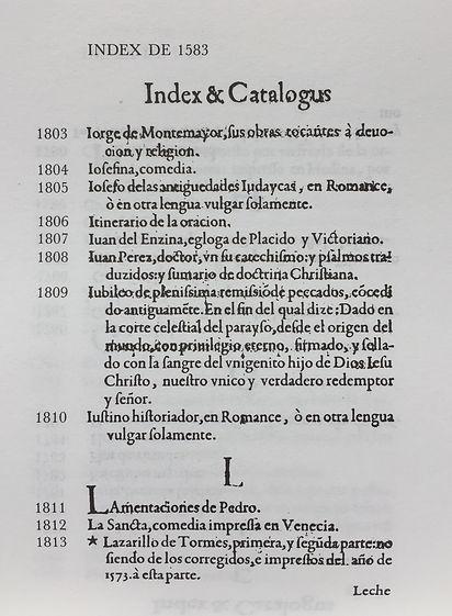 Página facsímile del Índice de Valdés, Martínez de Bujanda, Jesús, Index de l'Inquisition espagnole, 1583, 1584, (Sherbrooke, Canadá : Centre d'Études de la Renaissance, Université de Sherbrooke, 1993).