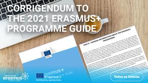 Retificação ao Guia do Programa Erasmus + 2021