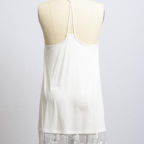 Ivory T Back Lace Slip Dress