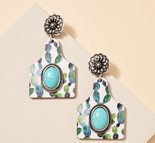 Cattle Tag Cacti Earrings