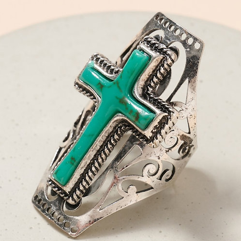 Western Turquoise Cross Cuff Ring