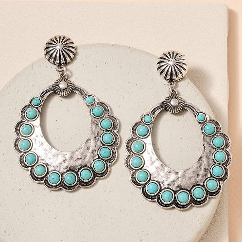 Silver and Turquoise Hoop Earrings