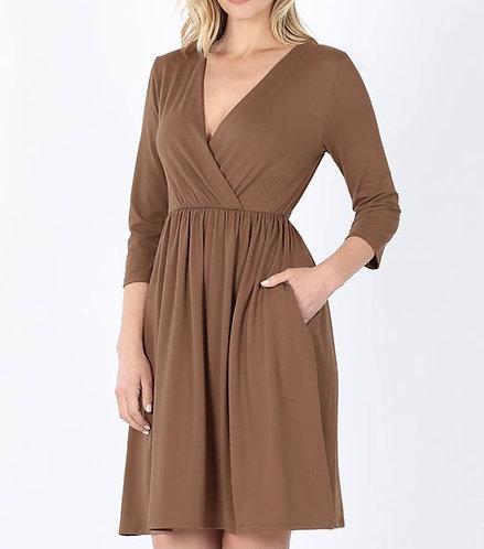 Mocha Empire Surplice Dress