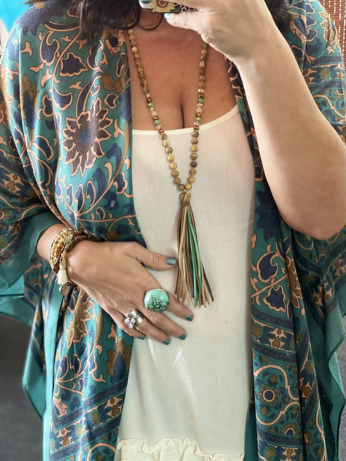 Glass & Stone Tassel Necklace