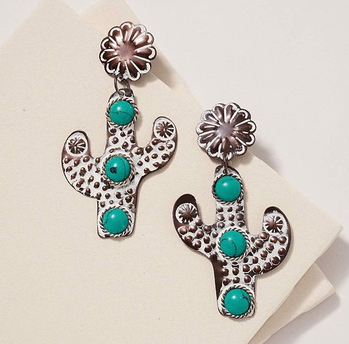 Metal Cactus Stone Earrings