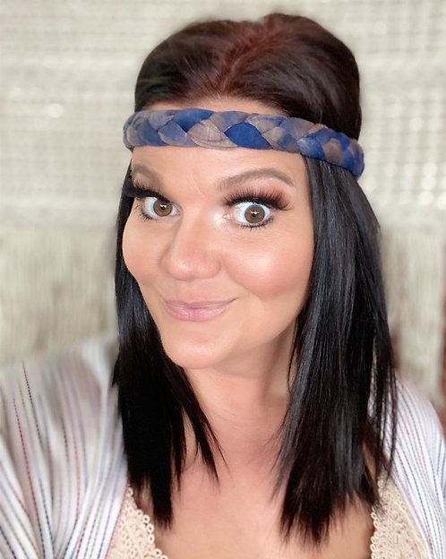 Navy Tie Dye Braided Headwrap