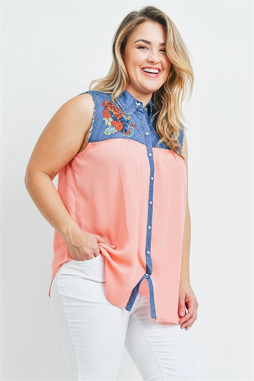 Denim Coral Embroidered Shirt