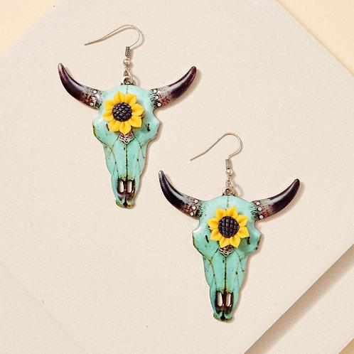 Longhorn Sunflower Metal Earrings