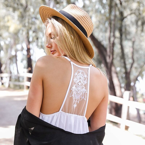 White Tattoo Back Ruffle Dress