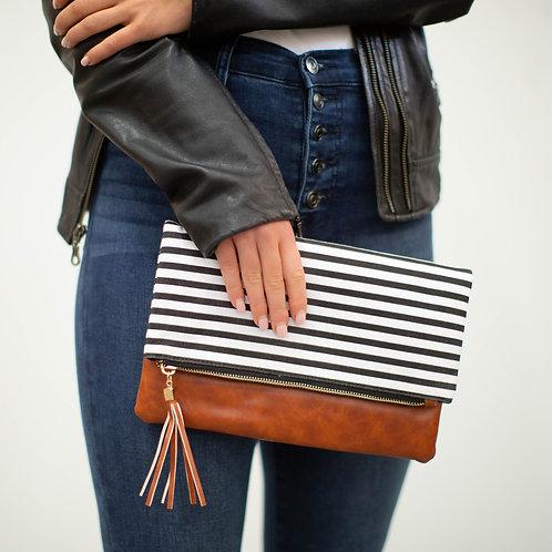 Classic Clutch-Black/White Stripe