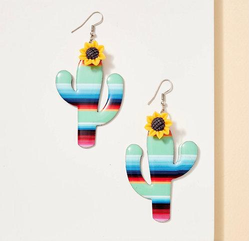 Serape Sunflower Metal Earrings