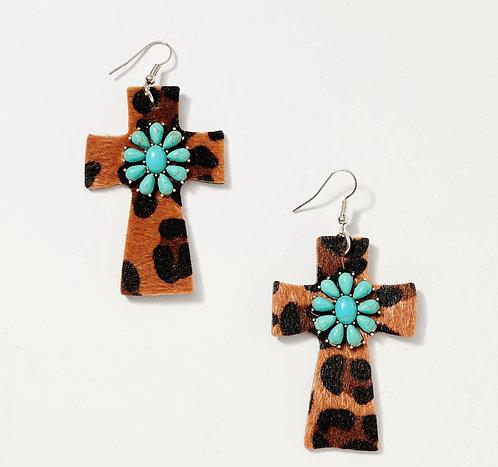 Animal Stone Cross Earrings