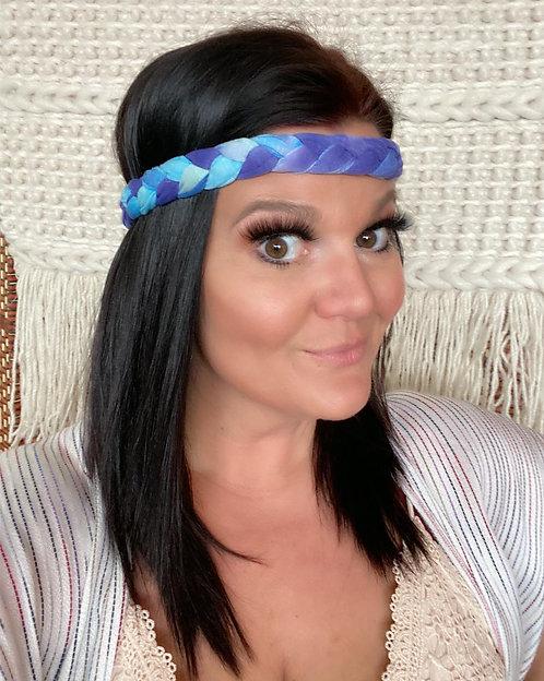 Blue Tie Dye Braided Headwrap