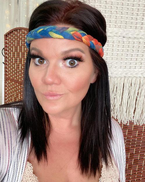 Tie Dye Braided Headwrap-Orange