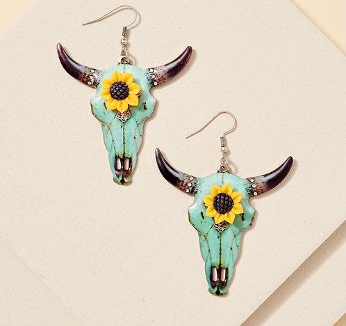 Longhorn Sunflower Earrings