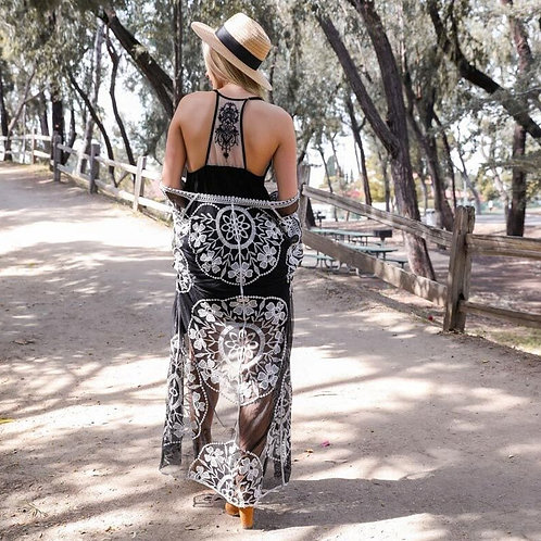 Black Tattoo Back Ruffle Dress