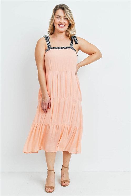 Peach & Black Tie Dress