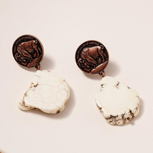 Buffalo Coin and Stone Earrings