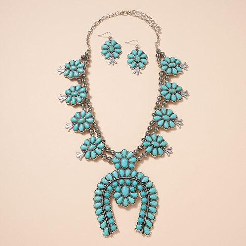 Navajo Pearls Western Squash Blossom Necklace Set