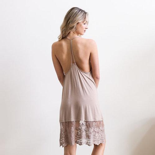 Mocha T Back Lace Slip Dress
