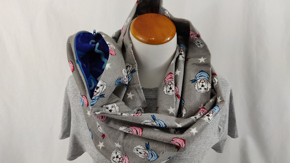 Infinity Scarf w/ Pocket - Patriotic Dogs
