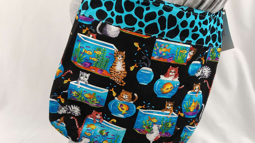 Slouch Bag - Cats / Blue