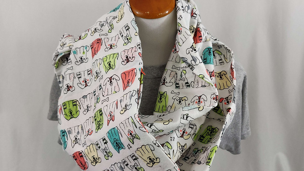 Infinity Scarf w/ Pockets - Colorful Cartoon Dogs
