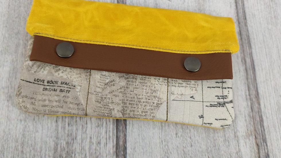 Yellow Waxed Canvas Noodlehead Large Minimalist Wallet