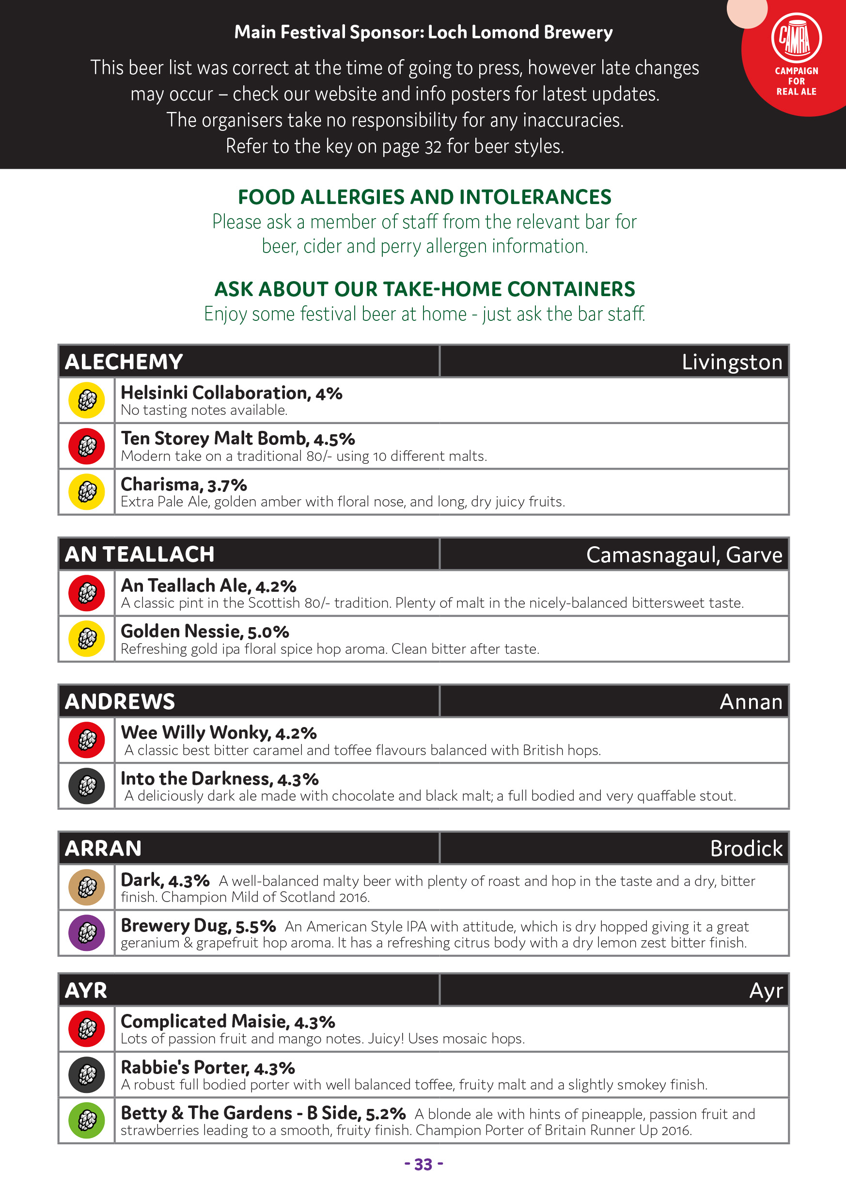 SRAF Programme 2017 beer list