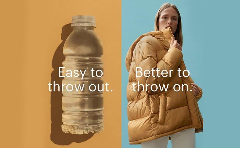 Comparativo entre garrafa plástica e roupa feita de garrafa PET