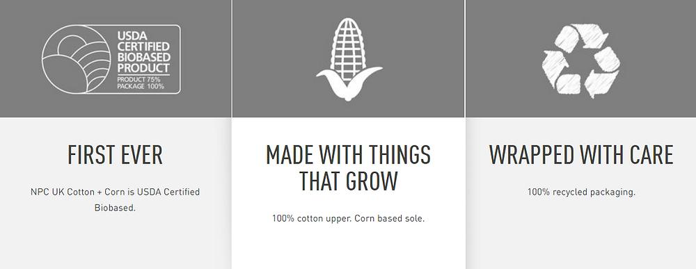 Diferenciais do tênis Reebok NPC UK Cotton + Corn