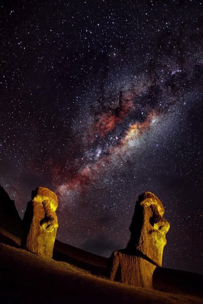 Rano Raraku Con Vía Láctea