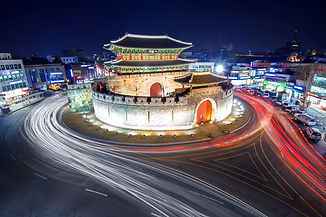 hwaseong-fortress-and-car-light-in-suwon