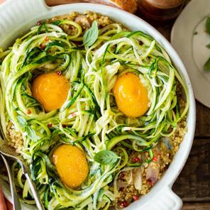 Nids de courgettes aux oeufs et quinoa à la Provençale