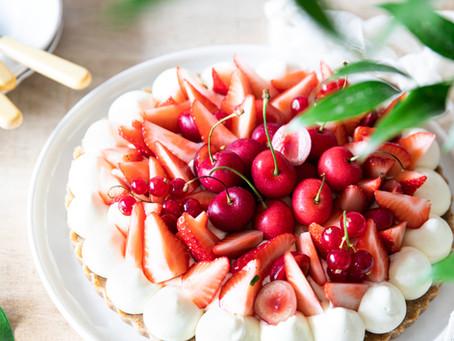 Tarte aux fraises et cerises - Pâte sans cuisson