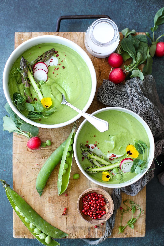 Velouté asperges petits pois vegan food
