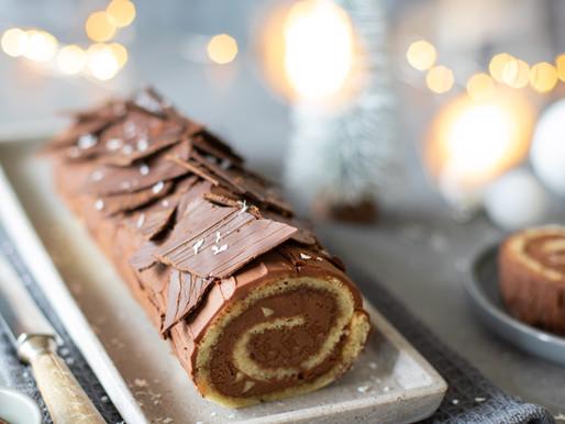 Bûche de noël, au chocolat et noisettes - Vegan