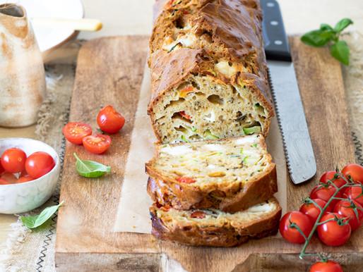 Cake aux tomates cerises, courgette et fromage de chèvre - Veggie