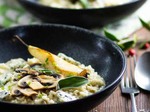 Risotto aux champignons, gorgonzola et poire