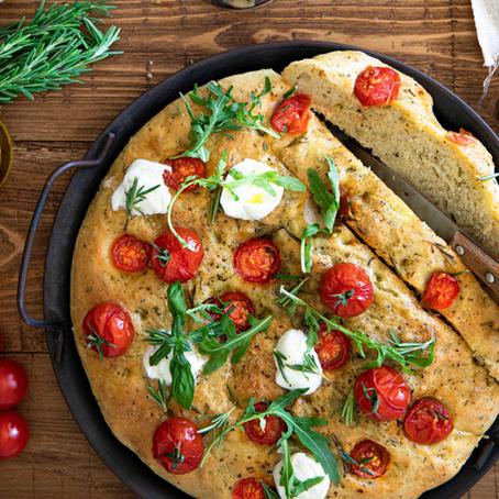 Focaccia aux tomates cerises et mozzarella - Végétarien