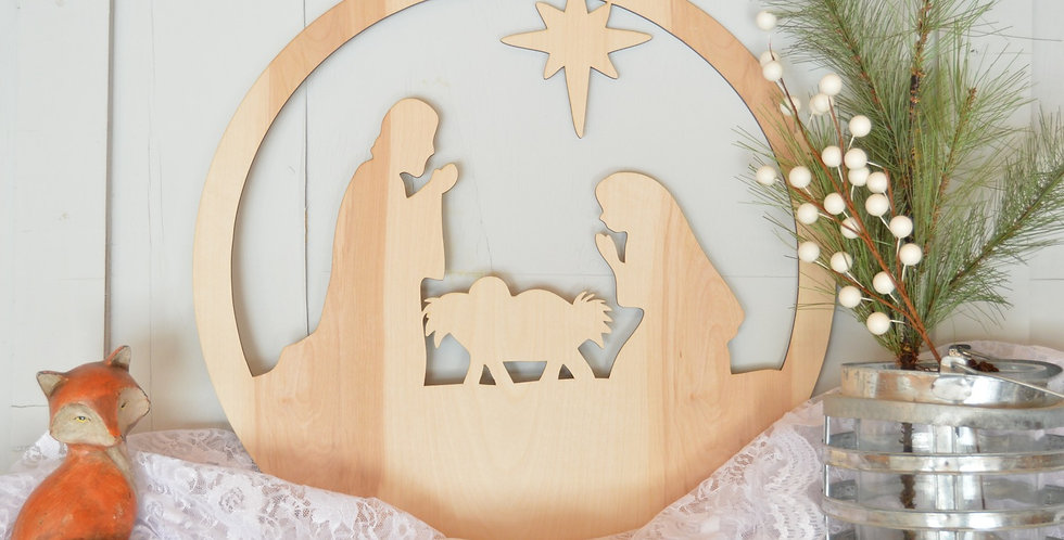 "20"" Nativity Scene Wood Cutout"