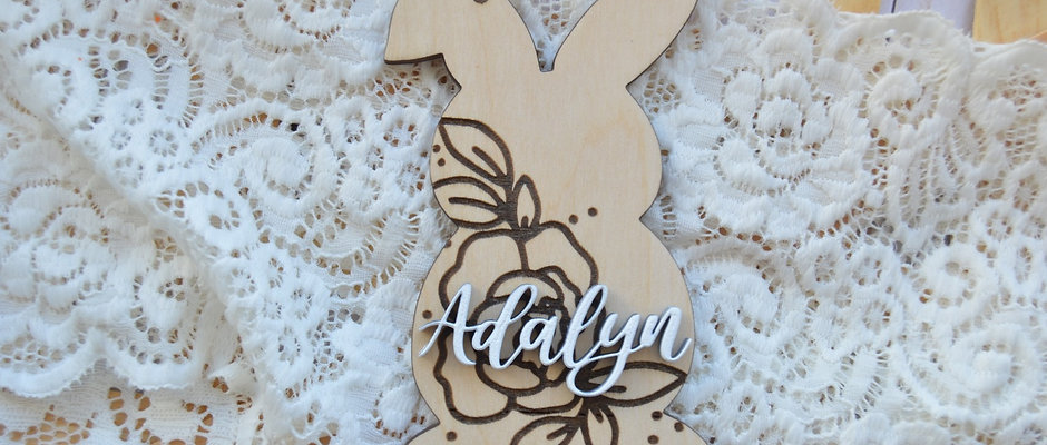 Personalized Floral Bunny Basket Tag