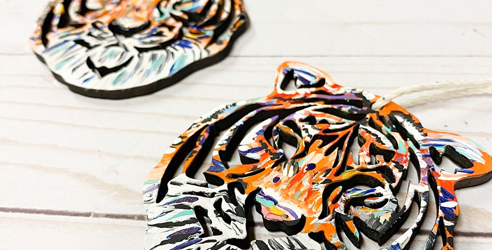 Multicolor Painted Tiger Ornament