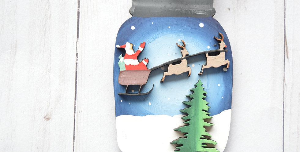 Santa Sleigh Mason Jar