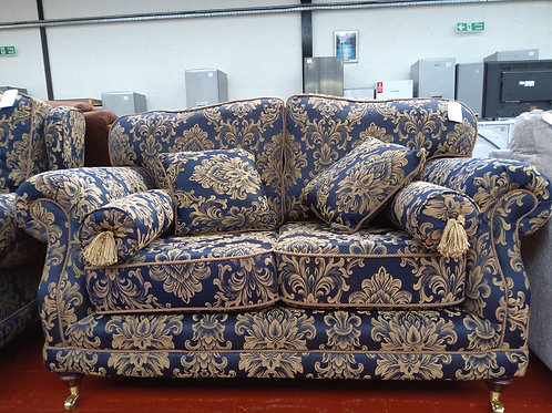 Hand made Royal blue with gold swirls 2 seater sofa and 2 armchairs