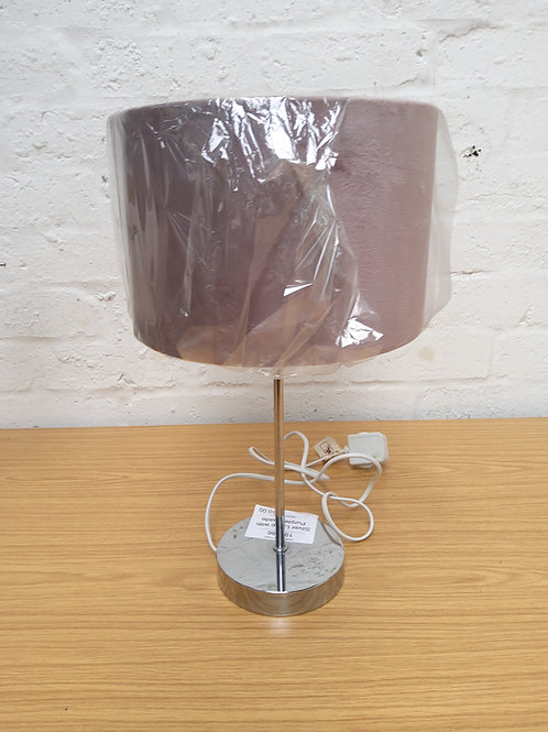 Silver lamp with purple shade