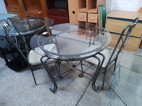 Glass top dinning table with 2 chairs