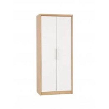 Seville 2 Door Wardrobe - Light Oak Effect Veneer/White High Gloss