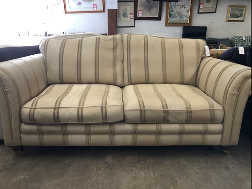 2 Seater Cream and Brown Sofa