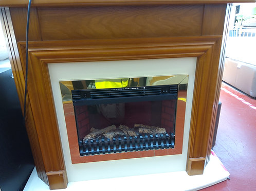 Mahogany fire surround and fire